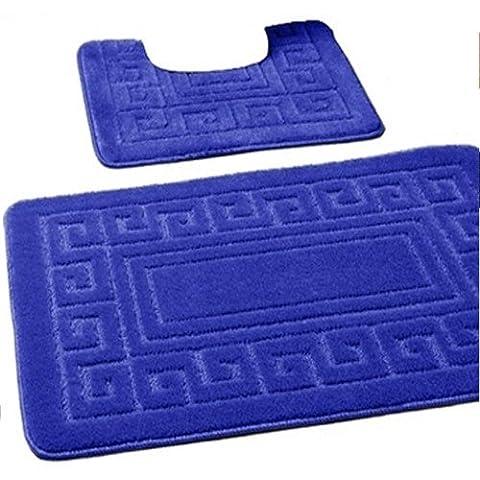 New Greek Style 2 Piece Bath Mat Set Non-Slip 13 Colours (Royal Blue)