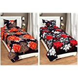RS Home Furnishing Combo Glace Cotton Single Bedsheet, Combo Set Of 2 Bedsheet And 2 Pillow Covers