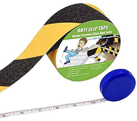Anti Slip Tape , High Traction,Strong Grip Abrasive , Not Easy Leaving Adhesive Residue , Indoor & Outdoor, with Measuring Tape(50MM Width x 5M Long, Black /
