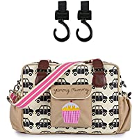 Yummy Mummy Stylish Nursery Changing Bag - Black Cabs - Includes Travel Changing Mat Cupcake Design Plus 1 Pack Of Happy Mummy Hook n Stroll Pram Clips
