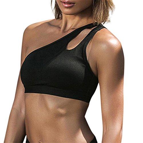 QinMM Mode Damen Workout Tank Tops T-Shirt Sport Gym Kleidung Fitness Yoga Westen Sommer Top Übung Top Weiß Schwarz S-XL (S, Schwarz) - Armani Kinder Kleidung