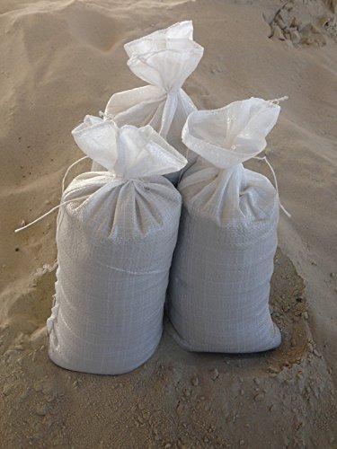 Preisvergleich Produktbild Sandsäcke 25 er Pack Hochwassersäcke strapazierfähig und reißfest Maße: 30 x 60 cm Farbe: weiß mit Zugband