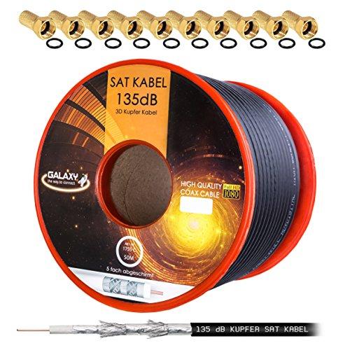 HB Digital 135dB 50m Koaxial SAT Kabel Reines KU Kupfer Schwarz Koax Kabel Antennenkabel 5-fach geschirmt für DVB-S / S2 DVB-C und DVB-T BK Anlagen + 10 vergoldete F-Stecker mit Gummiring SET Gratis dazu