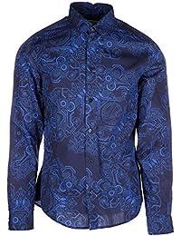Versace Jeans camisa de mangas largas hombre nuevo easy slim blu