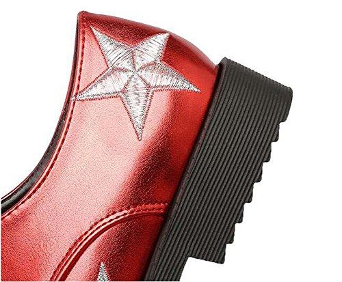Beauqueen Pompe delle donne di estate e tacco basso Lace Up Scarpe a punta svago femminile Bianco Nero Oro Rosso Scarpe da lavoro Stivali speciale formato dell'Europa 34-43 Gold