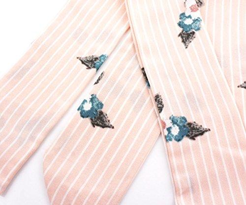 1pc Rosa Gestreifte Blume Skinny Silk-Chiffon-Frauen-Band-Schal Stirnband Für Handarbeit Und Handwerk 205 cm x 5cm