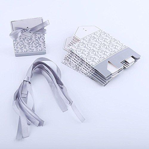 Hochzeit Süßigkeiten Taschen, 2 Farben 10 Stücke Elegante Hochzeit Gunsten Süßigkeitskästen Papiertüten Bandtyp(Silber)