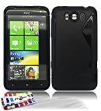 Muzzano F31S01-3891774 - Funda para HTC Titan, con 3 protectores de pantalla, color negro
