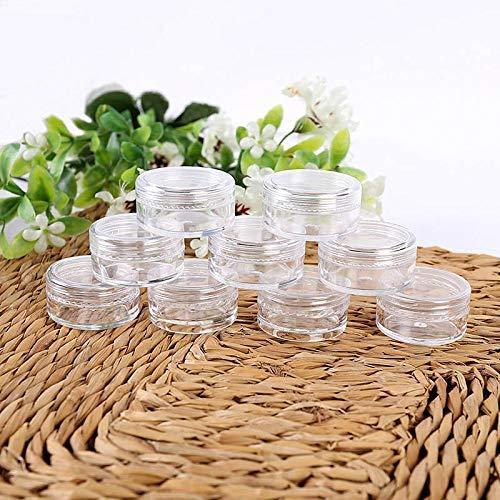 50 Stk. 3er Set/5g Kosmetik Leer Flasche Kreisformig Plastik Durchsichtig Probe Krüge Töpfe für Glitzer / Nail Art / Creme