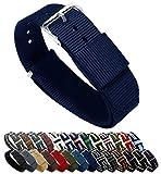 Bracelets de montre Barton- Bandes en nylon balistique, mixte, bleu marine, 20mm - Standard (10')