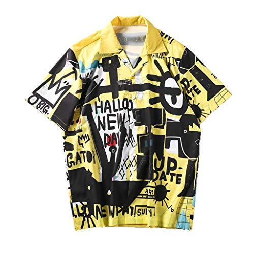 UJUNAOR T Shirt Uomo Divertenti Maniche Corte Loose Stampa Floreale con Bottoni Casual Moda Primavera-Estate 2019 Nuovo S/M/L/XL/XXL(X-Large,Giallo)
