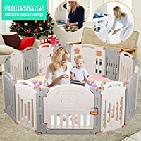Foldable Baby Playpen Activity Center Safety Playard with Lock Door,Kid