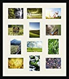 Inconnu Cadres Photos pêle mêle multivues Gris Argent 8 Photo(s) 18x13 and 4 Photo(s) 13x18 Passe Partout, Cadre Photo Mural 68x78 cm Noir, 3 cm de Largeur