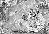 Fototapete Rosen Schmetterlinge Flieder grau Blumen Schlüssel Muster Blau Rosa L 300 x 210 cm - 6 Teile Vlies Tapete Wandtapete - Moderne Vliestapete - Wandbilder - Design Wanddeko - Wand Dekoration