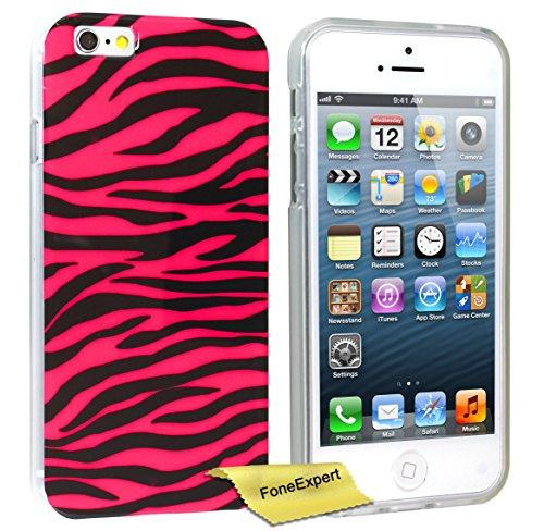 FoneExpert® iPhone 5 5s - Etui Housse Coque TPU Gel Cover Case pour Apple iPhone 5 5s + Film de Protection d'Ecran (Zèbre rose) Zèbre rose
