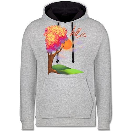 Statement Shirts - Herbst - Fall love - Kontrast Hoodie Grau meliert/Dunkelblau