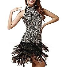 Mujer Falda Del Funcionamiento Danza Latina Vestidos Bailes Latinos Lentejuela Borla Negro