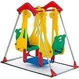 BABY VIVO Columpio para Niños Parque Infantil Balancín Interior y Aire Libre Doble Asiento Juegos Jardín - Zoo