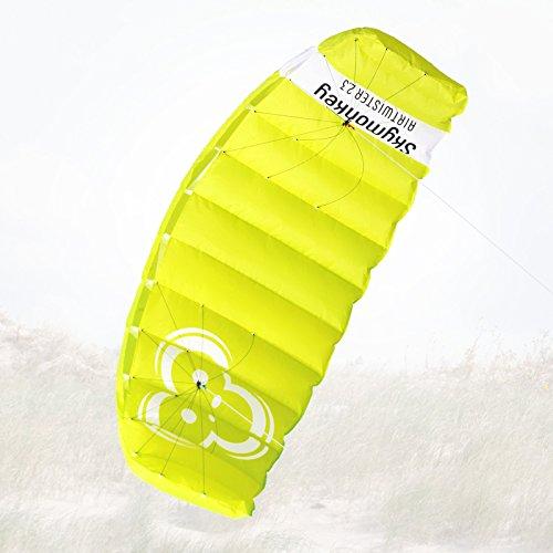 """Skymonkey Airtwister 2.3 Lenkmatte mit Flugschlaufen \""""Ready 2 Fly\""""- 230 cm [grün-gelb]"""
