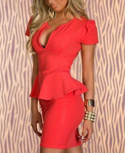 Mode Frauen V-Ausschnitt Bandage Bodycon SchößChen Dünnes Kleid Orange