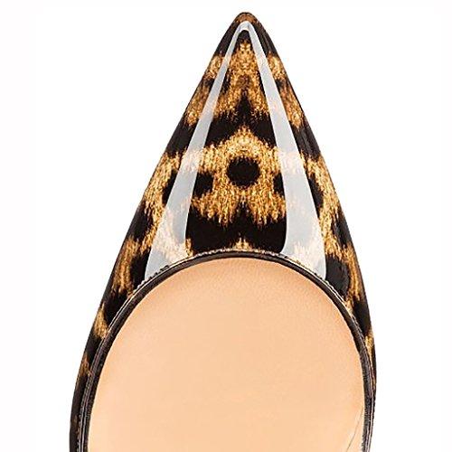 EKS - Scarpe con Tacco Donna (Leopard-Lackleder)