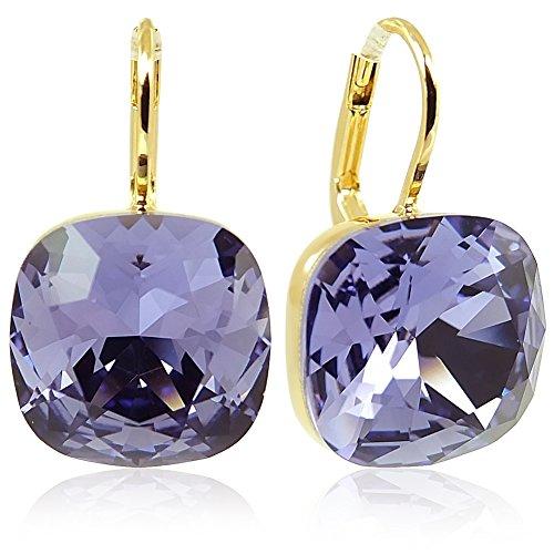 Ohrringe mit Kristallen von Swarovski® Lila Gold NOBEL SCHMUCK (Ohrringe Lila)