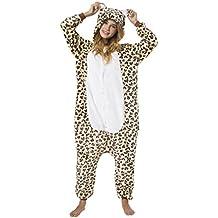 Kigurumi Pijama Disfraz de Animal Traje para Adultos Unisex - ideal para Cosplay, Carnaval o Halloween - Leopardo con Capucha y Patrón Animal XL