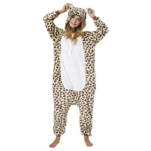 Witziger Leoparden-Onesie Jumpsuit, Süßes Leopard-Kostüm - Fasching Karneval Party, Hausanzug Leo-Muster, Cosplay Einteiler, Sleepsuit Kapuze, lustiges Tier-Outfit, flauschig bequem, ()