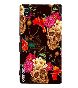 Omnam Skelton And Flower Printed On Brown Base Printed Designer Back Cover Case For Sony Xperia M4