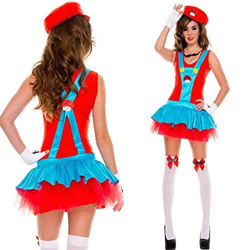 Gorgeous Super Mario Halloween-Kostüm Cosplay Kostüme bar Trägerkleid Kostüme Mario