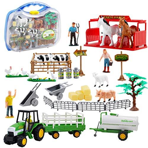 deAO 31-teiliges tragbares Bauernhofspielset mit Sattelzugmaschinen, verschiedenen Tierfiguren, Landwirt und Zubehör - Geschenkpackung für Kinder -
