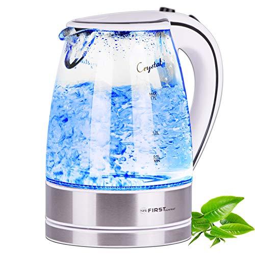 TZS First Austria -1,7 Liter Glaswasserkocher mit Kalkfilter, blaue LED Beleuchtung innen, Wasserkocher Glas, BPA frei, Überhitzungsschutz, 2200 Watt kabellos, automatische Deckelöffnung, weiß