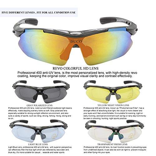 Duco Radsportbrille Outdoor Sonnenbrille für Sportler polarisierte 5 austauschbare Gläser UV400 SP0868 - 6