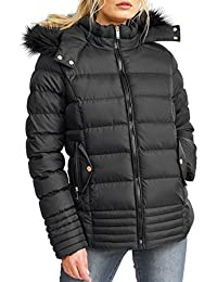 SS7 New Women's Padded Quilted Fur Parka Jacket, Black, Sizes 8 To 16
