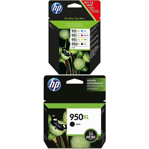HP 950XL/951XL Multipack Original Druckerpatronen (3x Schwarz, Blau, Rot, Gelb) mit hoher Reichweite für HP Officejet Pro (Hp 950xl Tinte)