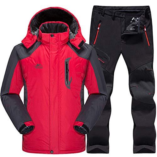 AXIANNV Skianzug Herren Wasserdicht, Thermo Snowboard JackeHoseHerrenBerg Skifahren und Snowboarden Winter Schneekleidung Set, rot, XXL