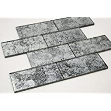 Silver Crest - Galaxy Series 3 x 6 Silver Color Glass Tile by Marble 'n things