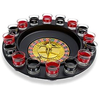 Grinscard Ensemble de Verres à Shooter avec Roulette - Noir Design Casino - 16 Verres à Liqueur pour Jeux à Boire