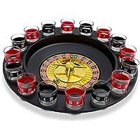 """Ensemble de verres à shooter avec roulette - Noir Design """"Casino"""" - 16 verres à liqueur pour jeux à boire - Grinscard"""