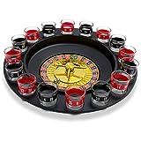 Set shottini e ruota della roulette - Nero Design 'Casinò' - 16 bicchierini da shot per giochi alcolici - Grinscard