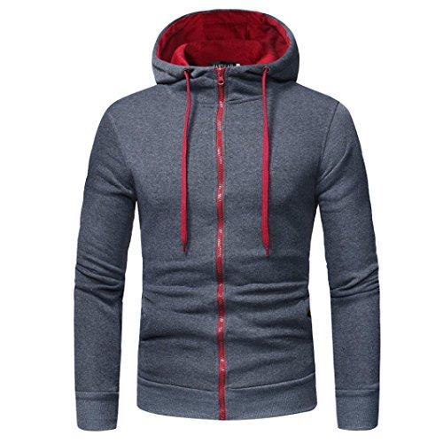 VEMOW Sommer Herbst Vatertag Geschenk Herren Langarm Casual Business Hoodie Kapuzenpullover Tops Jacke Mantel Outwear(Dunkelgrau, EU-56/CN-XXL)