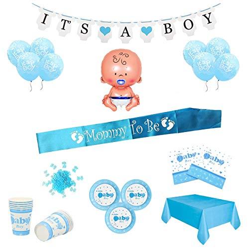 Layal Design Baby Shower Deko Set - Für eine Its a Boy Junge Babyparty (24 Personen)