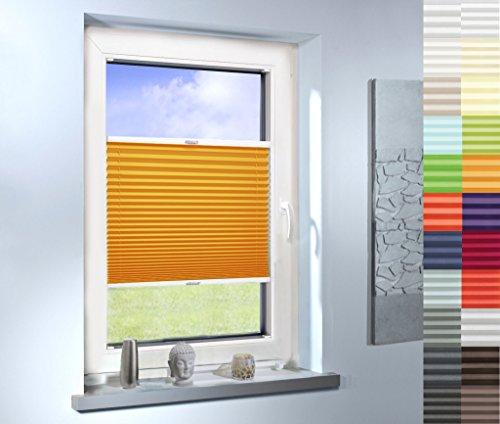 SUNWORLD Plissee nach Maß, hochqualitative Wertarbeit, für Fenster und Türen, alle Größen, Maßanfertigung, Jalousie, Faltrollo (Farbe: Light Orange, Höhe: 201-210cm, Breite: 111-120cm)