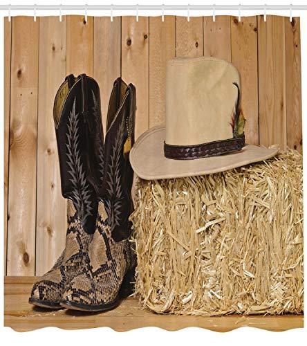 ABAKUHAUS Western Duschvorhang, Texas Schlange Cowboy, mit 12 Ringe Set Wasserdicht Stielvoll Modern Farbfest und Schimmel Resistent, 175x200 cm, Braun Creme