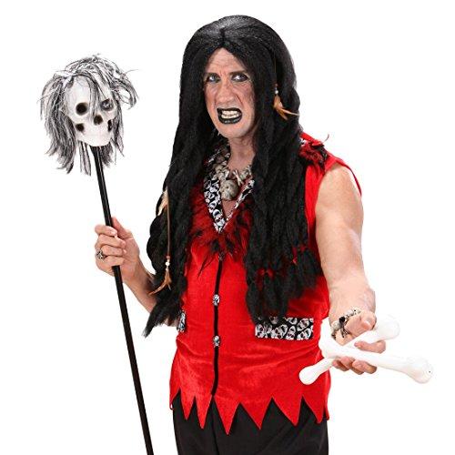 Langer Voodoo Stab Totenkopf Stock 120 cm Skull Zepter Toten Schädel Knaufstab Horror Gehstock Halloween Kostüm Accessoire