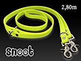 SNOOT Verstellbare Führleine und Doppelleine 2,8m | neon gelb | zugfeste, schmutz- und wasserabweisende Hundeleine mit 2 Karabiner und 3 Ringösen | Doppel-Leine für zwei Hunde