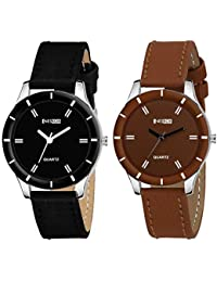 NESROR Combo of 2 Leather Band Round dial Watches for Girls