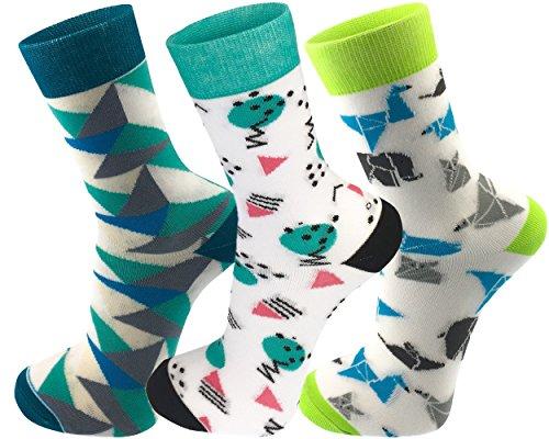 Mo-Ko-Ko - Motiv socken - Lustig, Bunt, Verrückt, Cool, Designer Herren und Damen Socken (36-41, Picasso Grün, Origami, Triangles (Damen)) Damen-origami