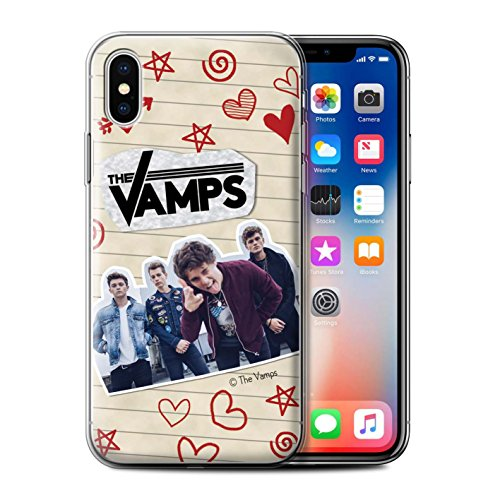 Offiziell The Vamps Hülle / Gel TPU Case für Apple iPhone X/10 / Pack 5Pcs Muster / The Vamps Doodle Buch Kollektion Rot Stift