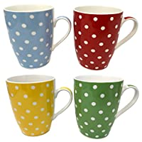 Set of 4, High Quality Fine China Mugs, Polka Dot Design